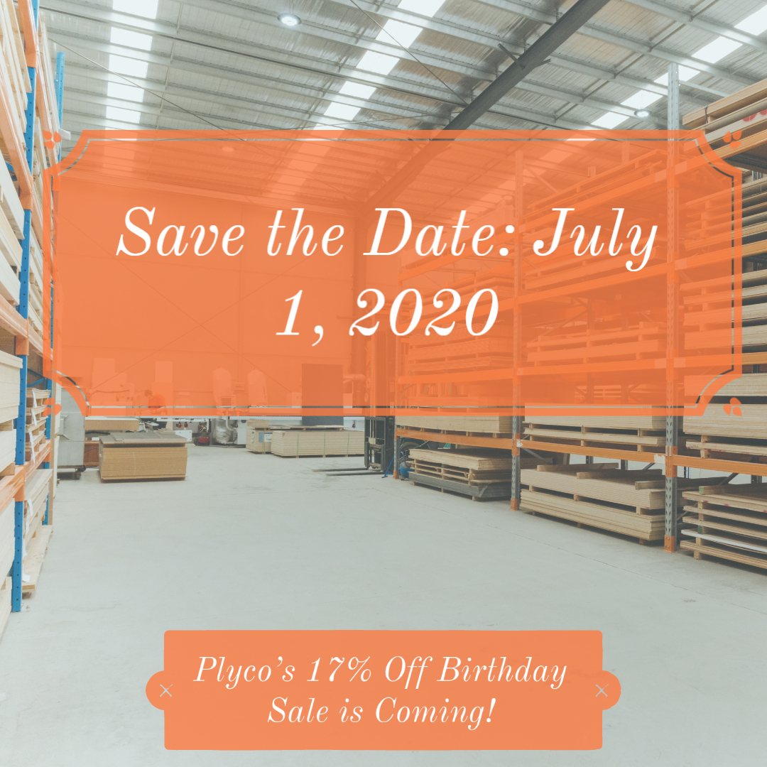 plyco's 17% off plywood birthday sale