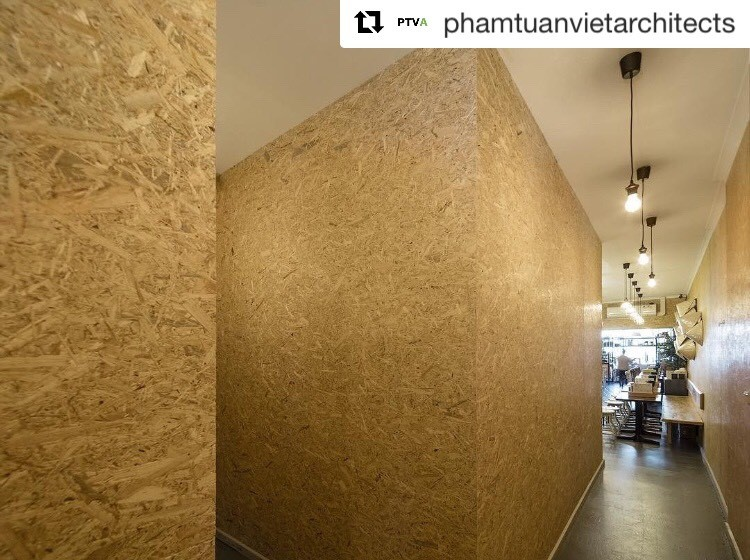 Particle Board used for cafe walls