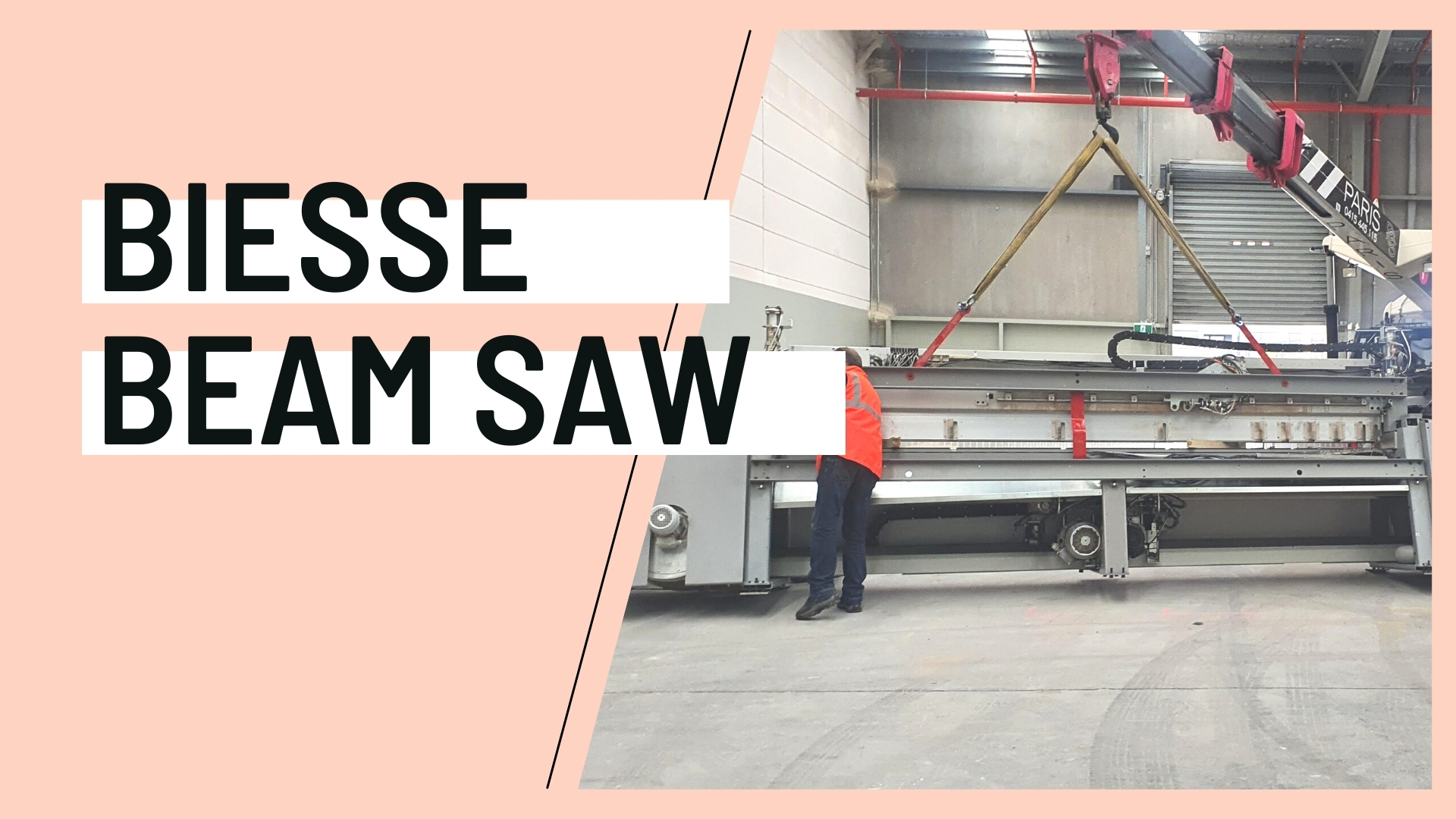 Biesse Beam Saw arriving at plywood supplier Plyco on the Mornington Peninsula