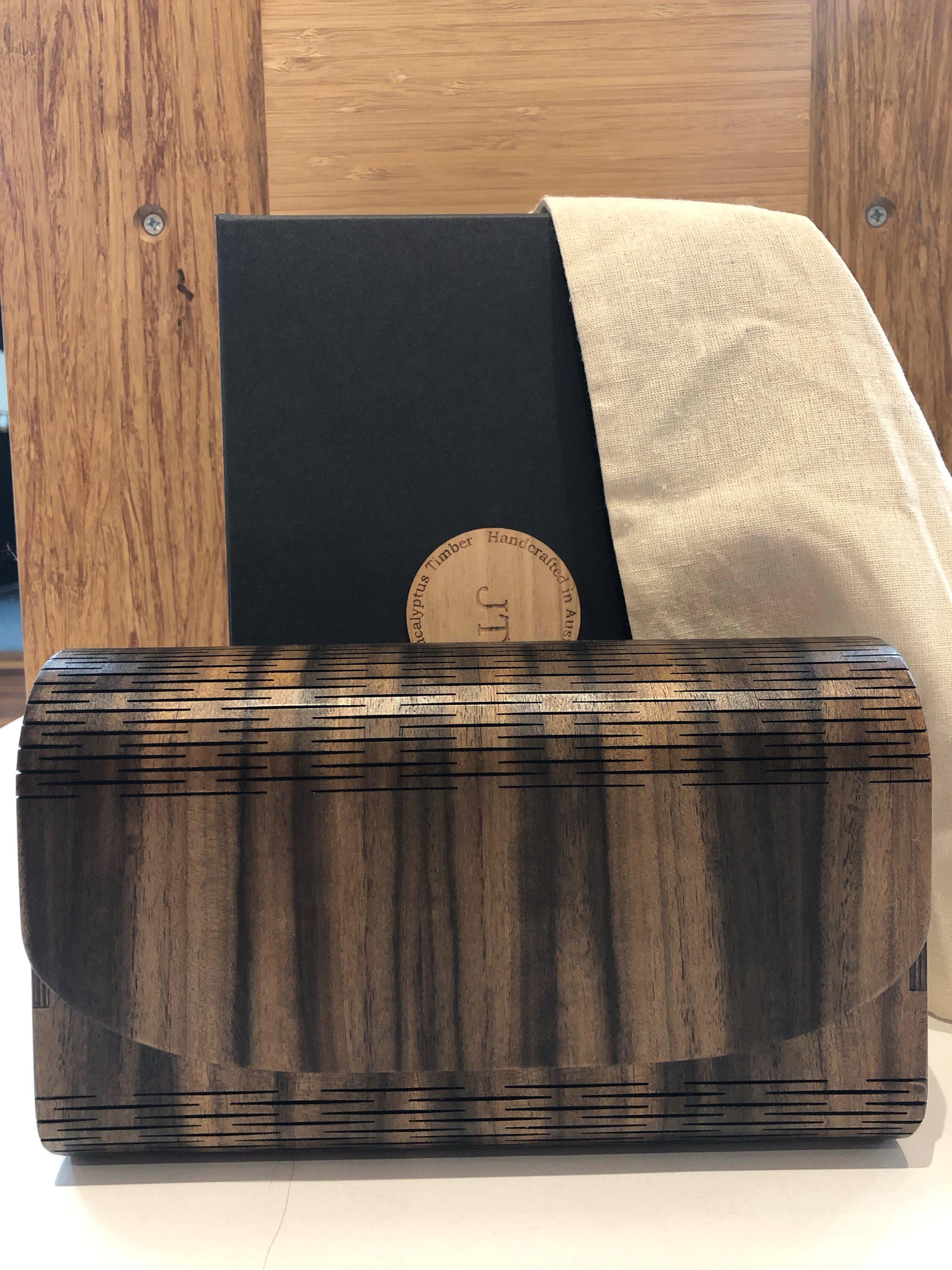 laser cut timber clutch purse