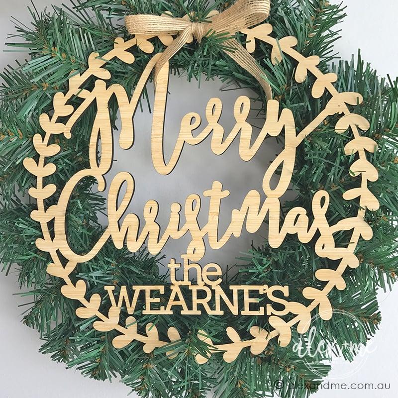 birch laser plywood christmas wreath