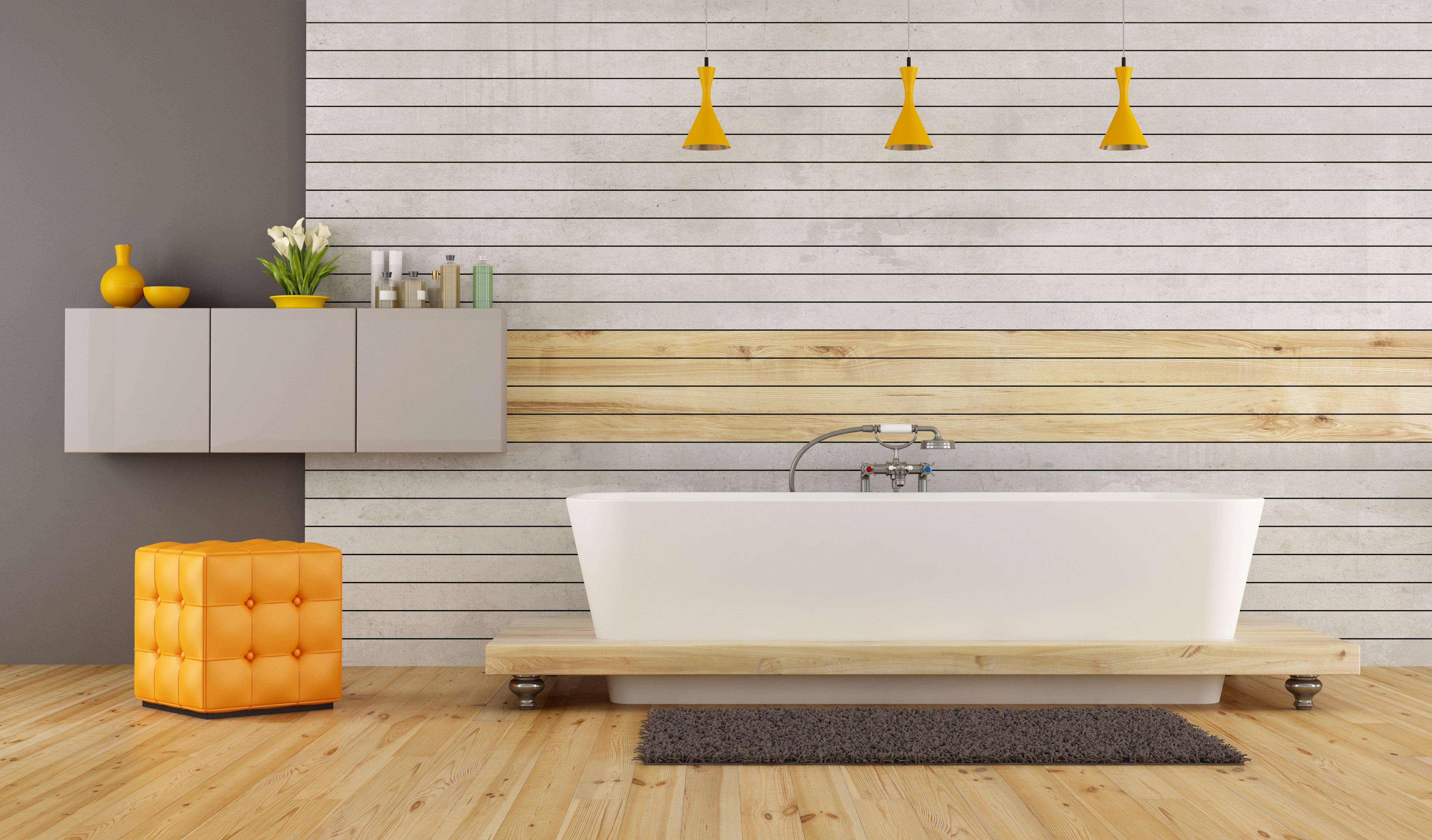 Rendering of horizontal interior Pinoli wall cladding used for a bathroom