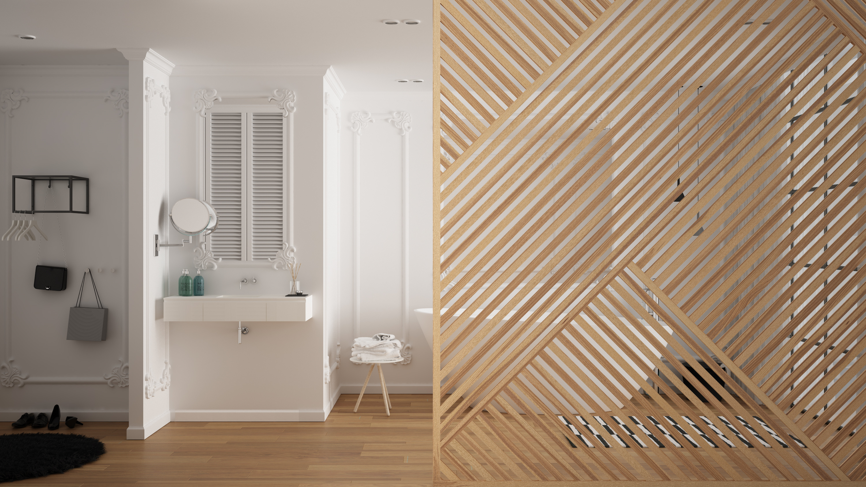 Plyco's interior wall cladding used for a creative bathroom feature wall