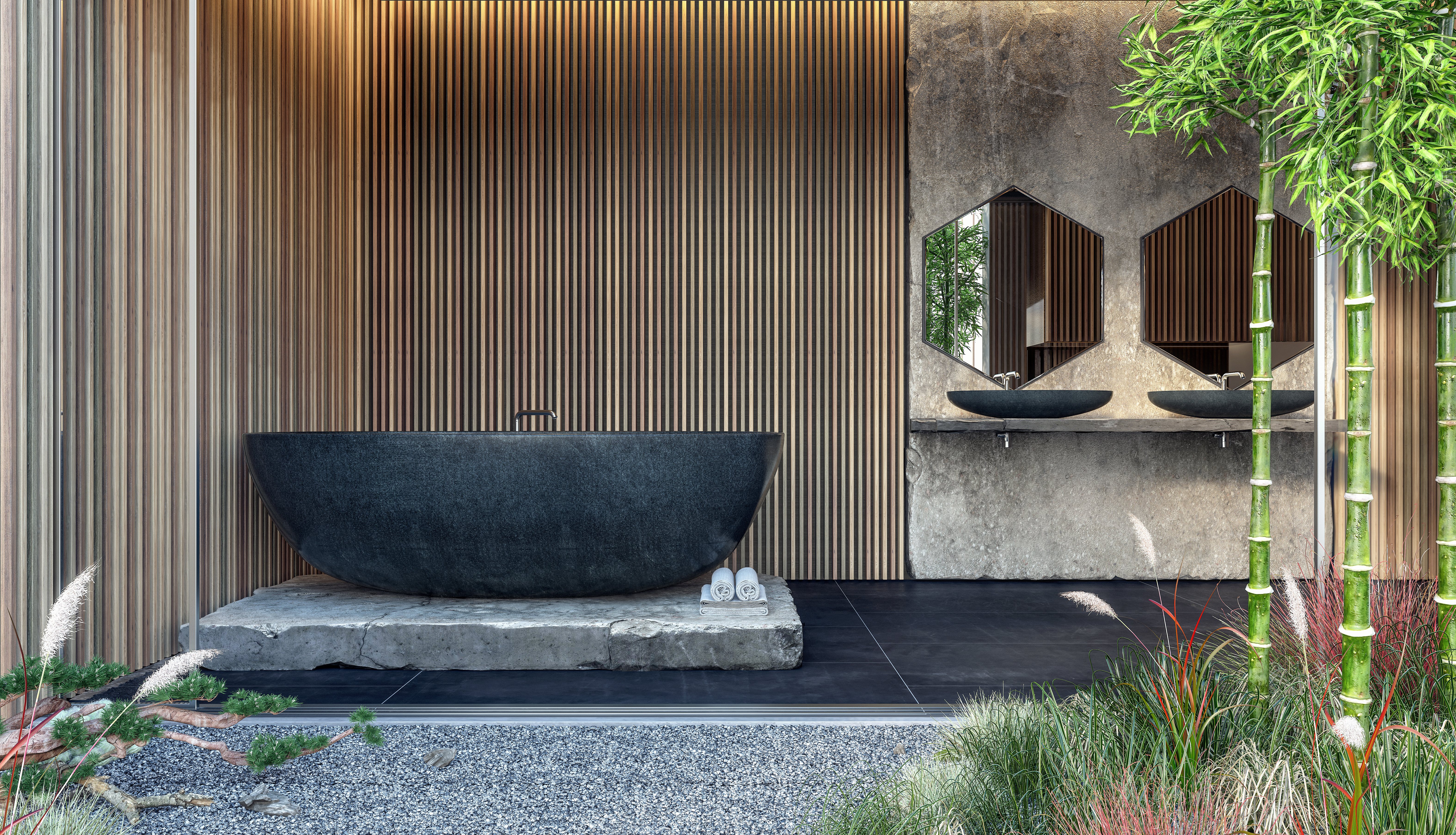 Beautiful wall panelling used for an alfresco bathroom