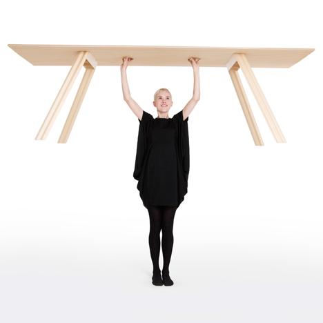 Plywood table built by Benjamin Hubert
