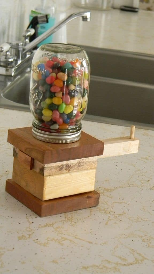 diy jelly bean dispenser plywood