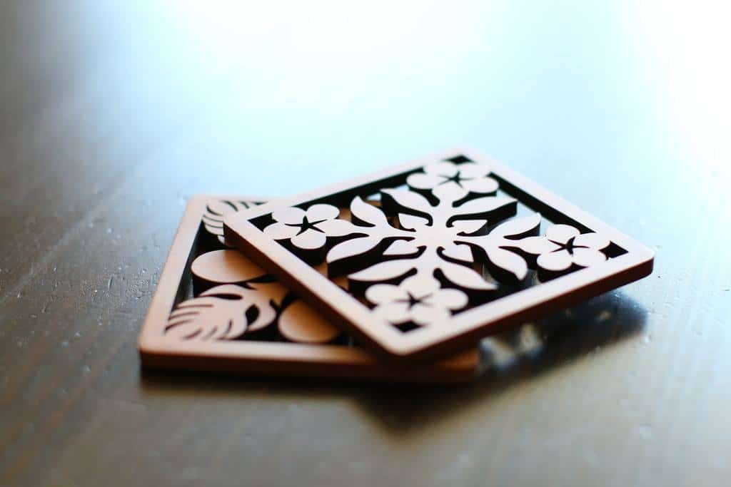 diy lasercut plywood coaster