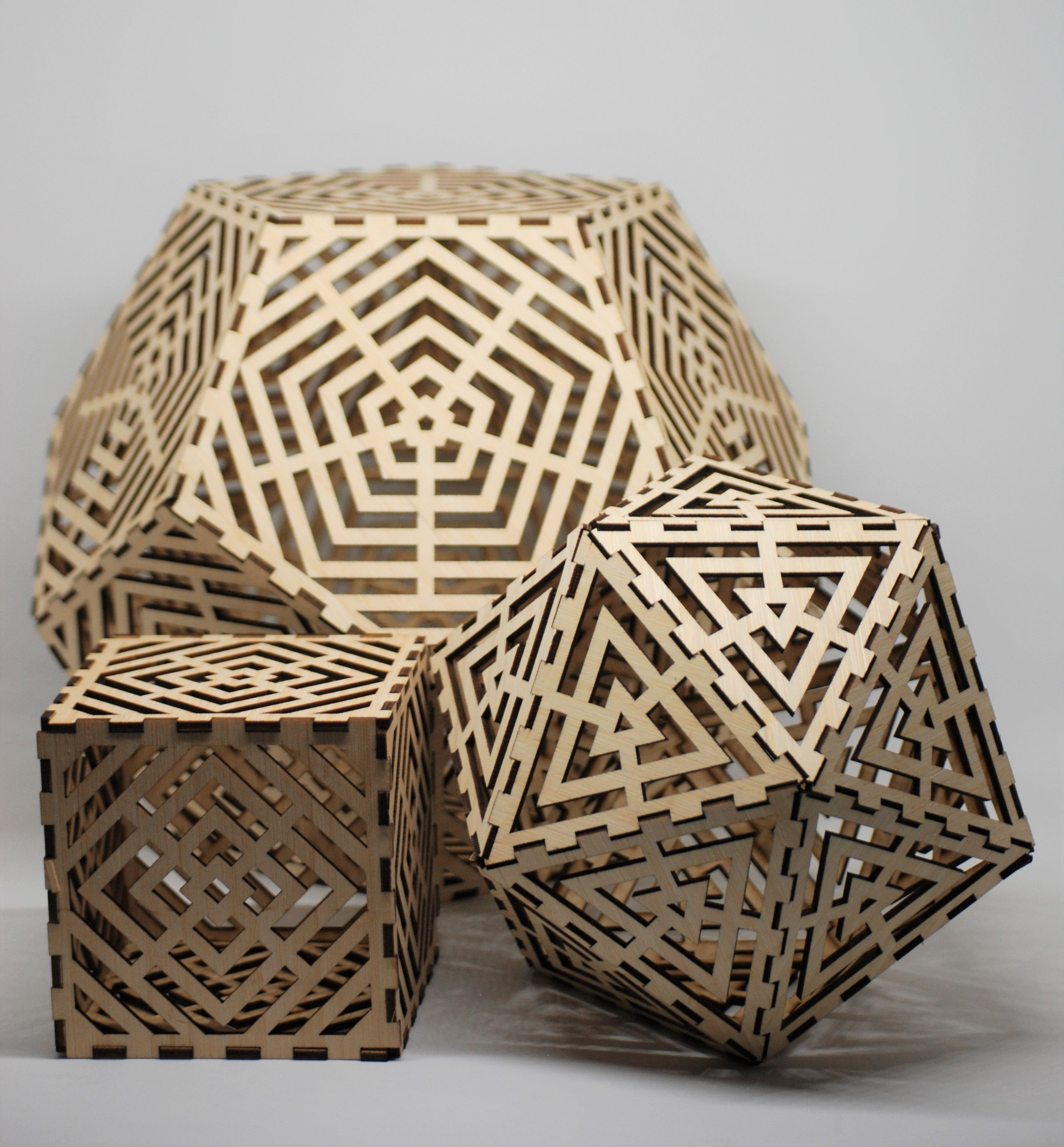 hectic hedron puzzles made from Bamboo Laser Plywood