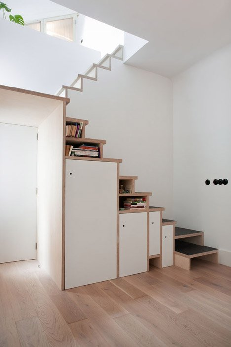 plywood staircase that doubles as storage