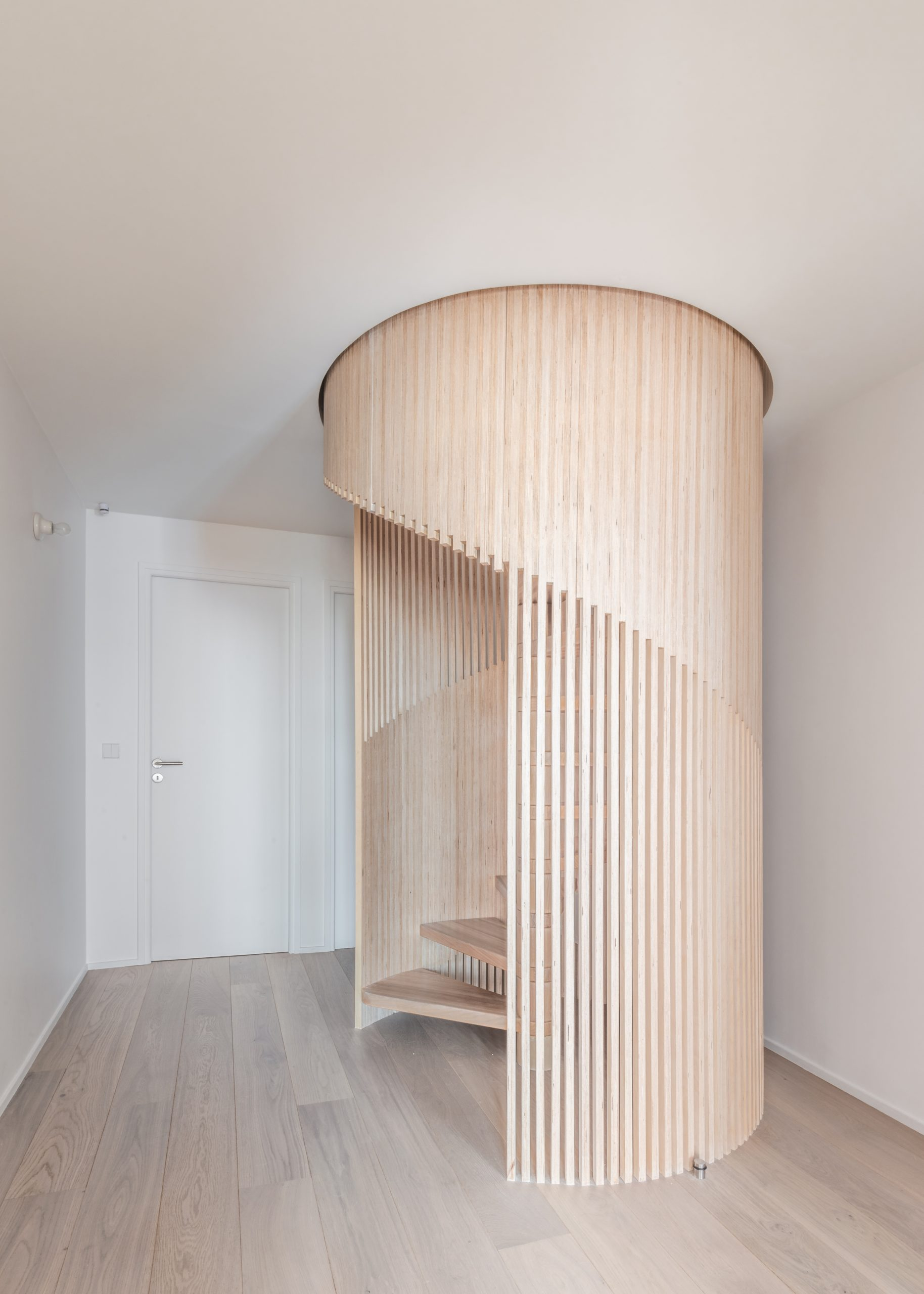 birch plywood architectural staircase railing