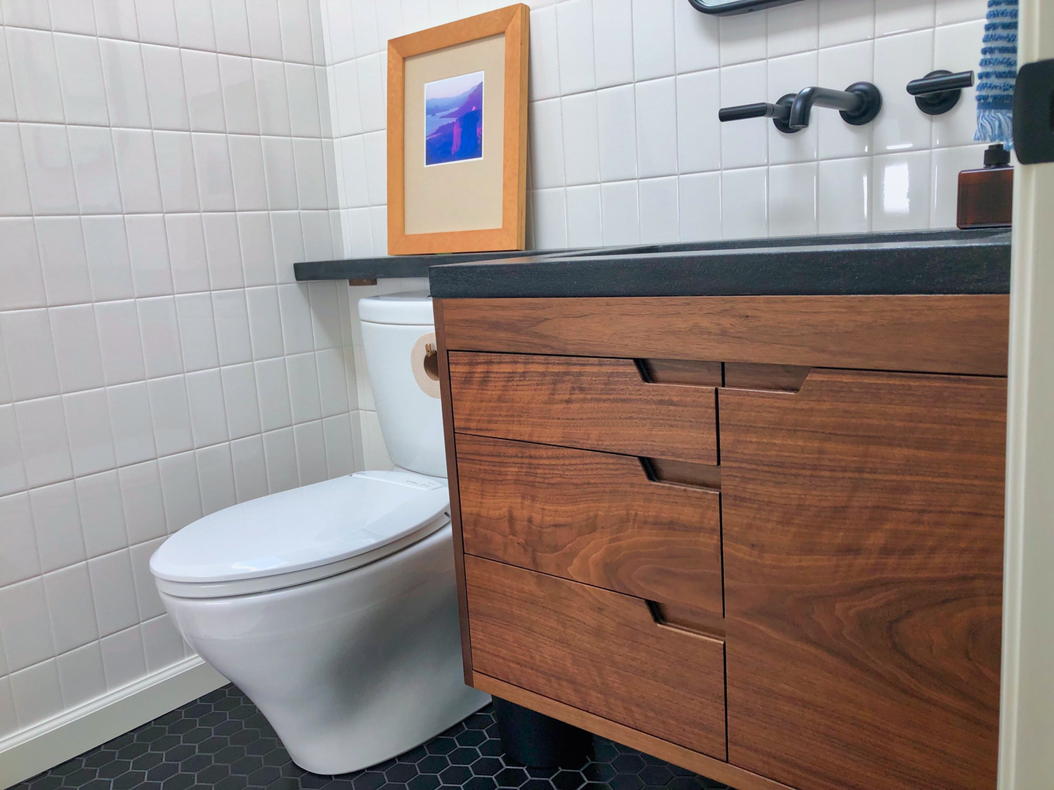 walnut bathroom cabinet